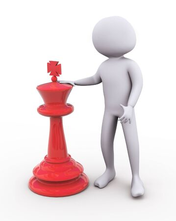 competing: 3d man standing with large red chess peace