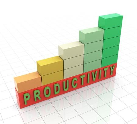 """productividad: 3d barras de progreso de reflexión con la """"productividad"""" del texto"""