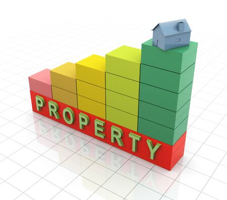 3d progress bars with house on top of highest bar. Concept of increasing properties value  Stock Photo - 10027950