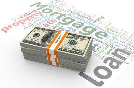 monthly salary: 3d render of dollar pack on the background of mortgage wordlcloud