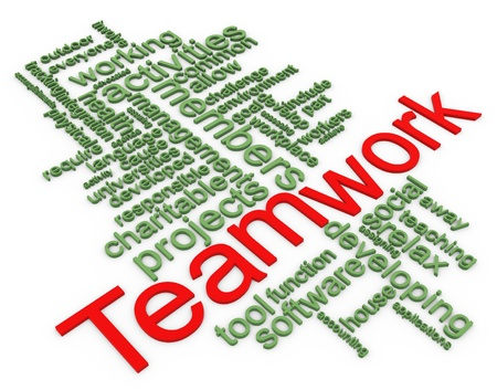 3d Words in a wordcloud of teamwork.