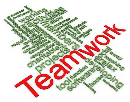 representations: Palabras 3d en un wordcloud del trabajo en equipo. Foto de archivo
