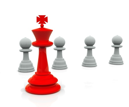 distinctive: 3d render of chess peaces following their leader Stock Photo