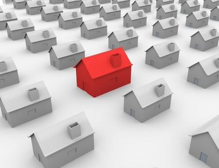 immobile: 3D Vivienda �nica rojo destac�ndose desde la multitud. Foto de archivo