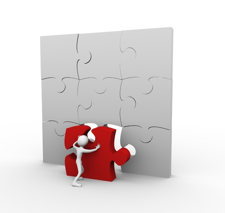 3d man pushing red puzzle peace photo