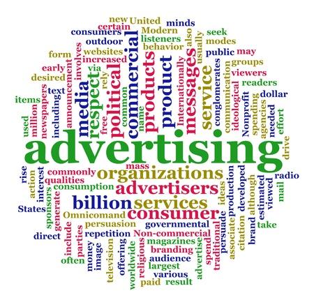 Illustration du concept de la publicité. Publicité Worldcloud en forme circulaire