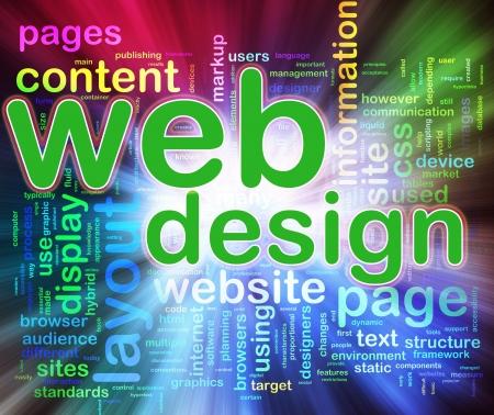 웹: 웹 디자인의 wordcloud에있는 단어의 추상적 인 배경입니다. 웹 디자인의 개념입니다. 스톡 사진