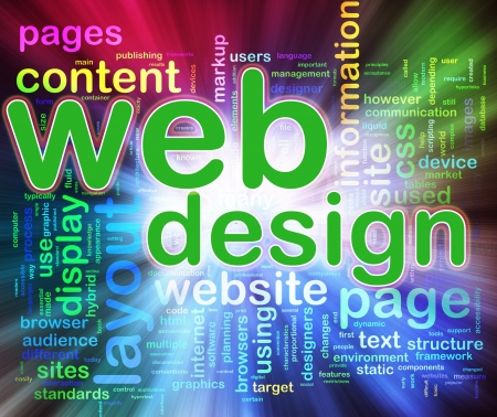 web designing: Abstract background of words in a wordcloud of web design. Concept of web designing.