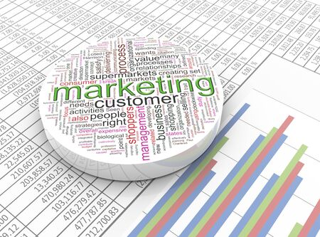 3d marketing Wordcloud on the background spreadsheet photo