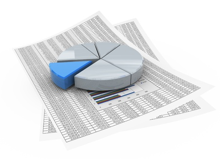 3D grafico a torta riflettente sulla carta finanziaria