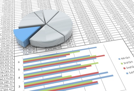 monthly salary: 3d reflective pie chart on the background of spreadsheet Stock Photo