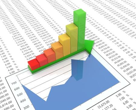 statistique: 3d barres de progression r�fl�chissantes sur la fl�che verte sur le fond de la feuille de calcul