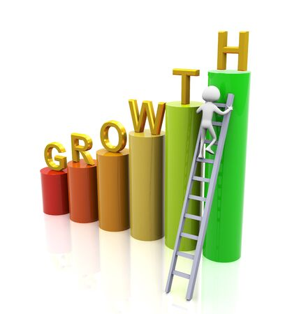 ladder of success: 3d man climbing ladder of growth