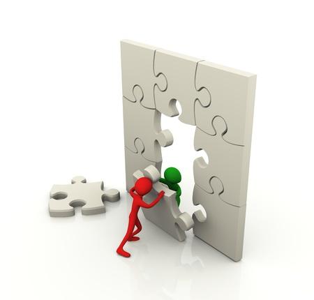 3D-mannen die werken samen met puzzel vrede