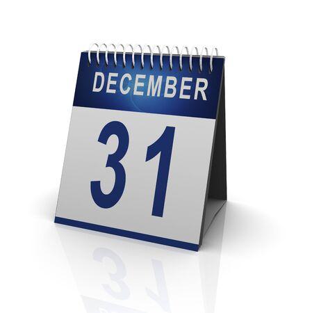 final: 3d render of calender with 31 december date