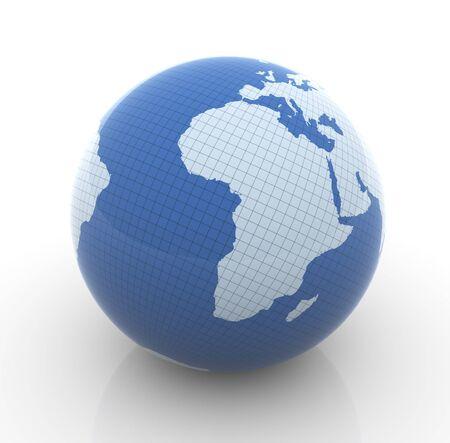 terra: 3d render of globe on white background