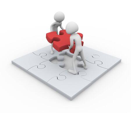 3D men assembling puzzle - Concept of team work photo