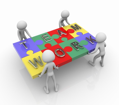 join the team: 3d men working together for completing team work puzzle Stock Photo