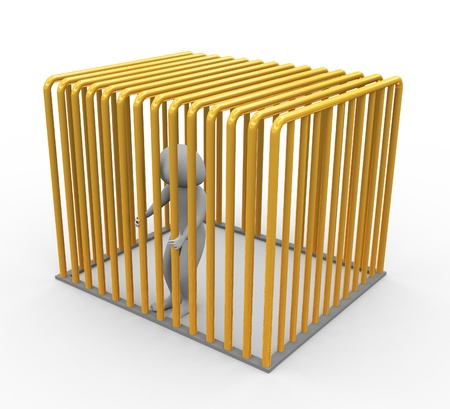 prisoner man: Frustrated 3d man in golden jail