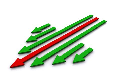 leading the way: 3d render of leading red arrow with green arrows forming large arrow