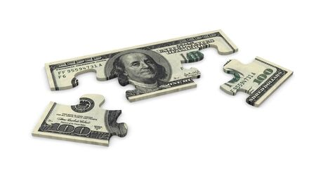 jig: 3d puzzle of dollar 100 note Stock Photo