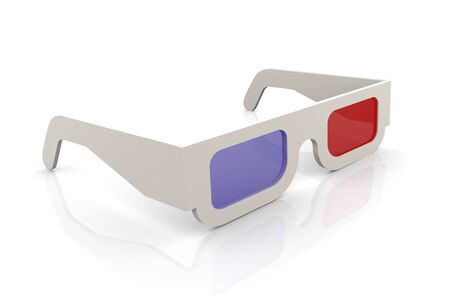 spectacle: 3d render of 3d glasses on white background