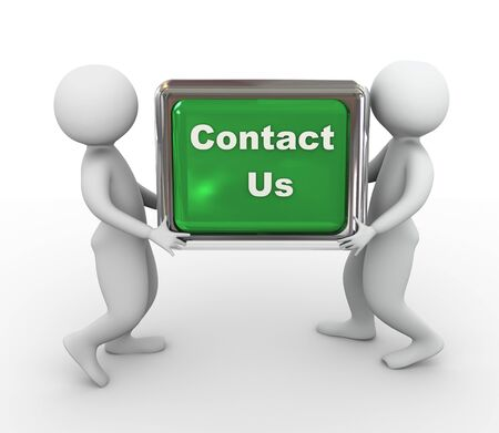 contacts group: 3d men holding push button with text contact us Stock Photo