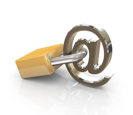email security: 3d render of chrome email symbol with lock