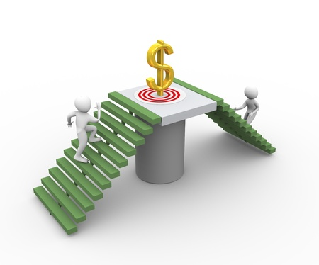 moving forward: 3d men running for getting golden dollar. Concept of competition and goal  achieving