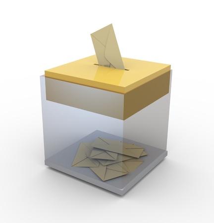 3d transparante stembus. Concept van stemmen of e-mail / porto