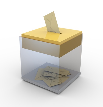 3d transparent ballot box. Concept of voting or email  postage Stock Photo