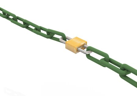 chainlinks: 3d render of lock with chain
