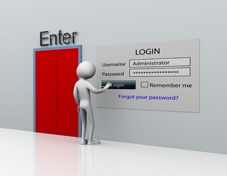 private access: 3d man secure login with administrator ID and password