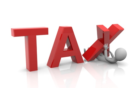 tariff: 3d render of heavy taxation concept Stock Photo