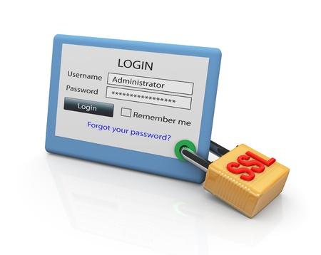 password: Concepto de inicio de sesión de sitio Web seguro mediante el protocolo SSL