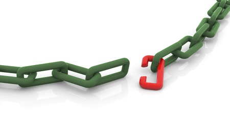 fail: 3d render of conceptual broken chain Stock Photo