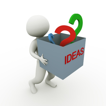 3d man carrying box fill with ideas and questions photo