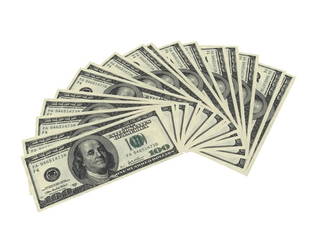 fanned: 3d render of fanned dollar notes on white background