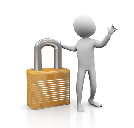 limitations: 3d man with padlock on white background. Security and protection concept Stock Photo