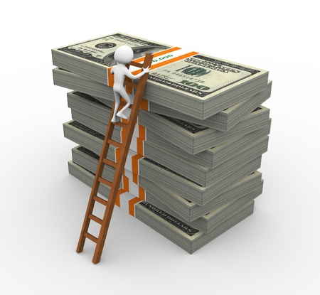 reliability: 3d man climbing on ladder to reach on top of stacked dollar packs Stock Photo