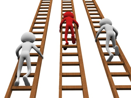 climbing ladder: 3d render of men climbing ladders for winning