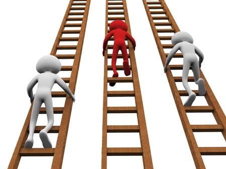 escaleras: render 3D de hombres subir escaleras para ganar Foto de archivo
