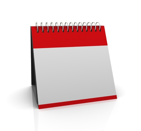 calender: 3d render of blank empty calender on white background Stock Photo