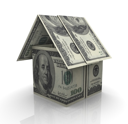 50 dollar bill: 3d render of house made from dollar notes