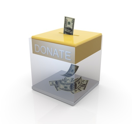 donating: 3d transparent donation box with dollar notes