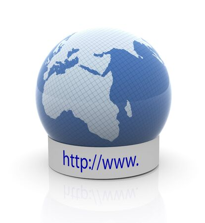 3d render of globe with http:www text photo