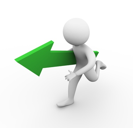 3d render of man running with green arrow in his hand Stock Photo - 10345718