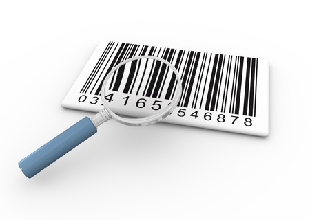 bar codes: 3d render of magnifying glass searching bar codes