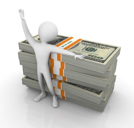 thousand: 3d happy man standing with ten thousand dollar bills Stock Photo