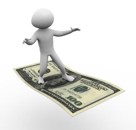 3d man flying on dollar  Stock Photo - 10345726